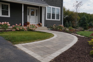 Brick paver walkway leading to front door