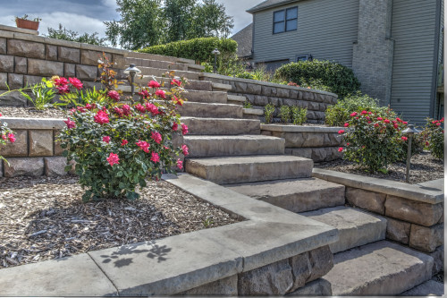 A retention wall disguised as a stone staircase with nice landscape