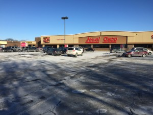 Jewel Osco parking lot in winter after it has been plowed